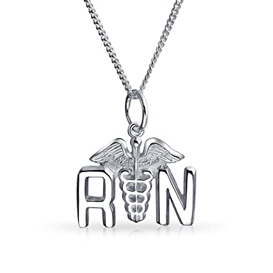Amazon bling jewelry rn registered nurse caduceus pendant bling jewelry rn registered nurse caduceus pendant sterling silver necklace 16 inches mozeypictures Image collections