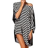 Hemore Women Striped Swimsuit Cover Up Dress Casual Beach Swimwear Dress Stylish Bikini Top Coverup
