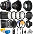 58mm Professional Accessory Kit for Canon EOS Rebel DSLR Bundle with Altura Photo Fisheye and Wide Angle Lenses