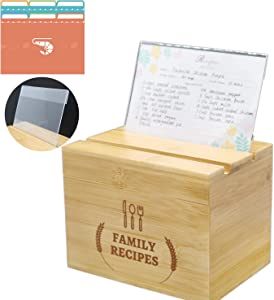Lecerent Recipe Box with 60 Cards & 12 Dividers & Recipe Card Protector, Wooden Recipe Holder With 4x6 inches Double Sided Recipe Card