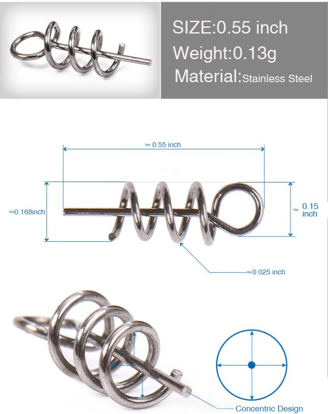 Aoyoho 15mm//26mm//33mm//42mm Soft Lure Bait Spring Twist Lock Outdoor Fishing Crank Hook Centering Pin for Soft Lure Bait Worm Crank
