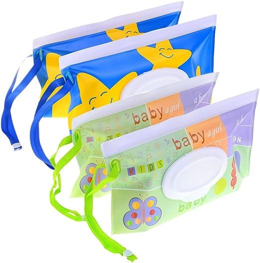 NIU MANG - 4 dispensadores reutilizables para toallitas húmedas para bebé, dispensador ecológico, ideal para viajar: Amazon.es: Hogar