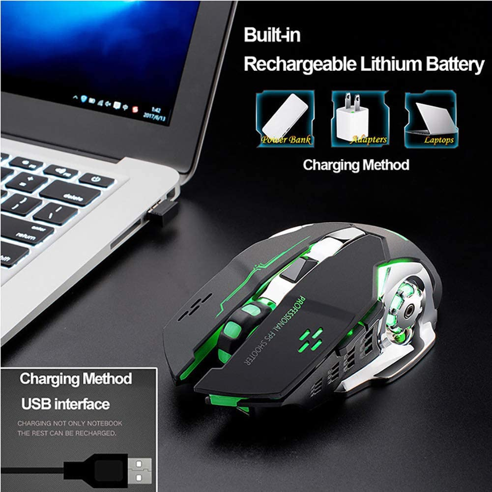32gagwwc X8 Silent 2.4GHz 2400DPI 6 Keys Wireless Optical Mouse USB Receiver Gaming Mouse for Windows 98 SE//ME//2000//XP//2003//MAC Gray