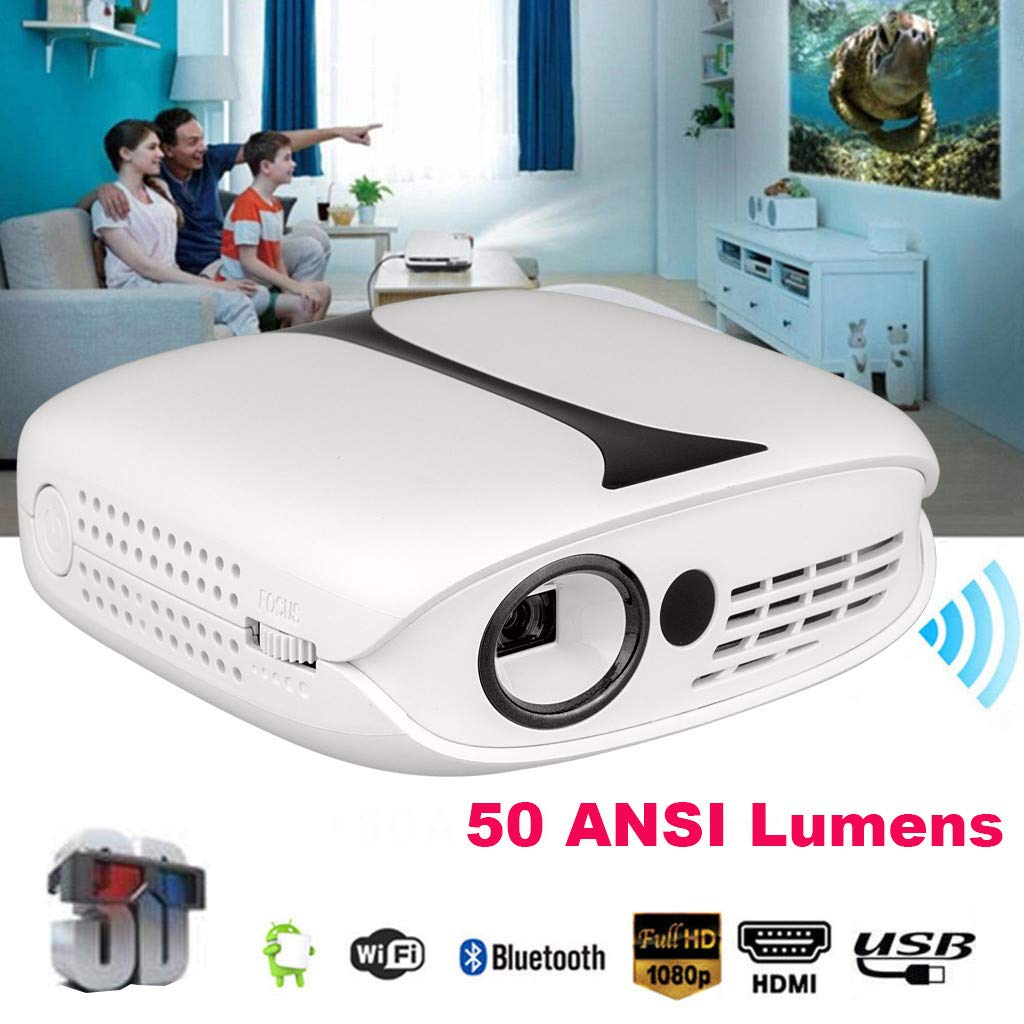 Sonmer RD-606 50 ANSI Lumens 1080P Bluetooth WiFi Full HD Mini LED Projector, 3D Home Theater Cinema, With Tripod Remote Control-White