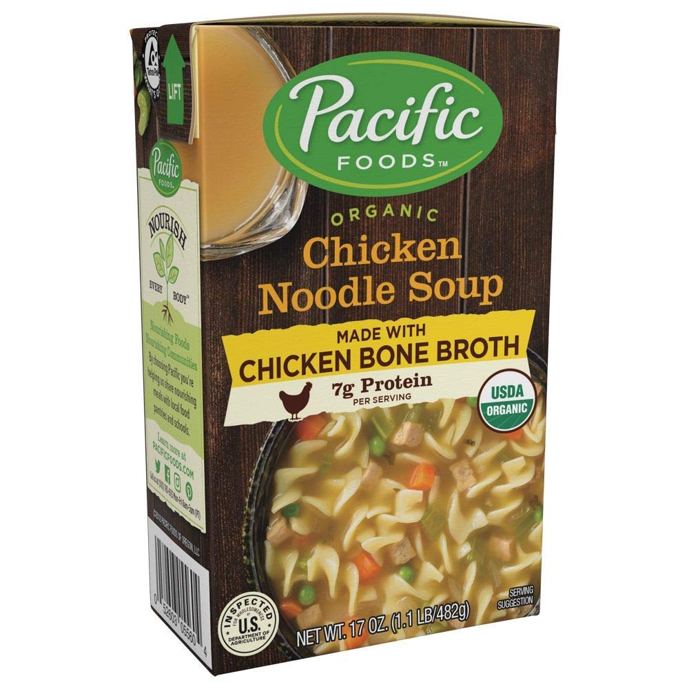 Pacific Foods Organic Bone Broth Chicken Noodle Soup, 7g Protein per Serving, Flavorful and Nutritious, 17 Ounce Box, Pack of 12