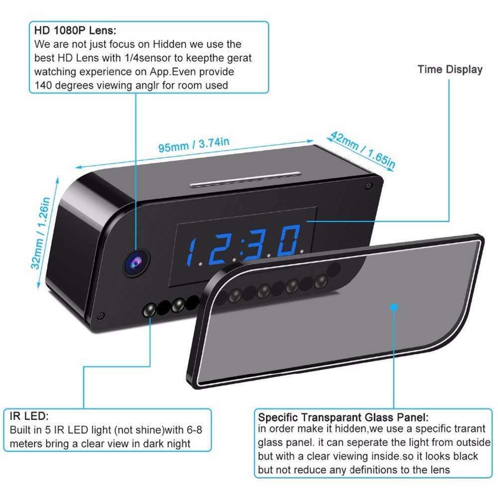 Braveking1 Cam/éra Espion WiFi 1080P Camera Espion WiFi R/éveil Cam/éra de Surveillance de Vision Nocturne et D/étection de Mouvement pour Micro Cam/éra de Surveillance de S/écurit/é Int/érieure//Ext/ér
