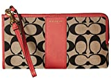 New Coach F52125 Legacy Printed Signature Zip Wallet Light Khaki/black/loganberry