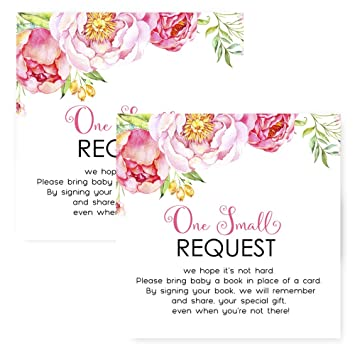 Amazoncom Mod Floral Bring A Book For Baby Shower Invitation