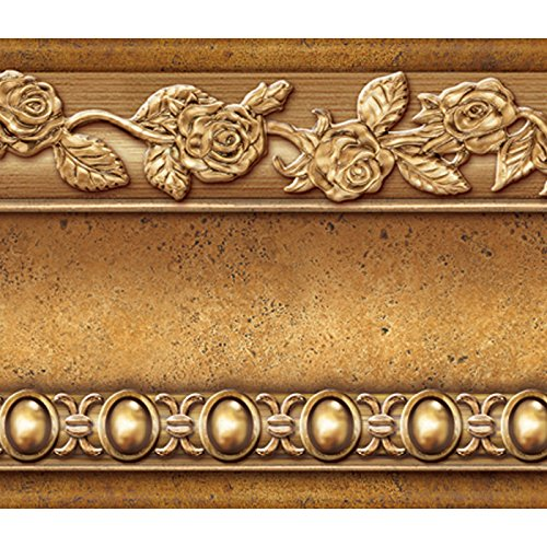 flower-molding-peel-and-stick-wall-border-easy-to-apply-gold-brown