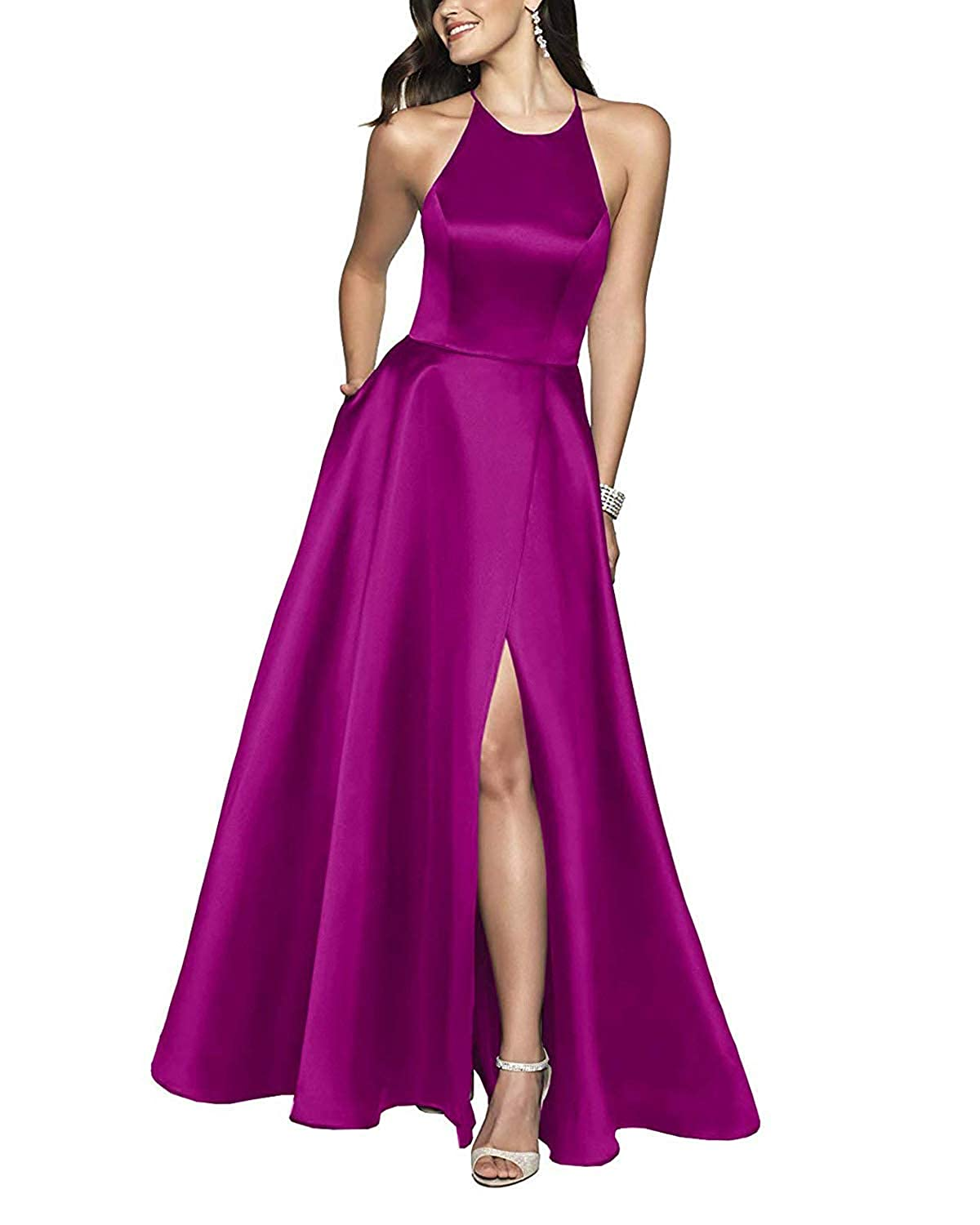 Fuchsia ZLQQ Womens Halter Beaded Prom Dress Long with Pockets Slit Beach Wedding Evening Gowns
