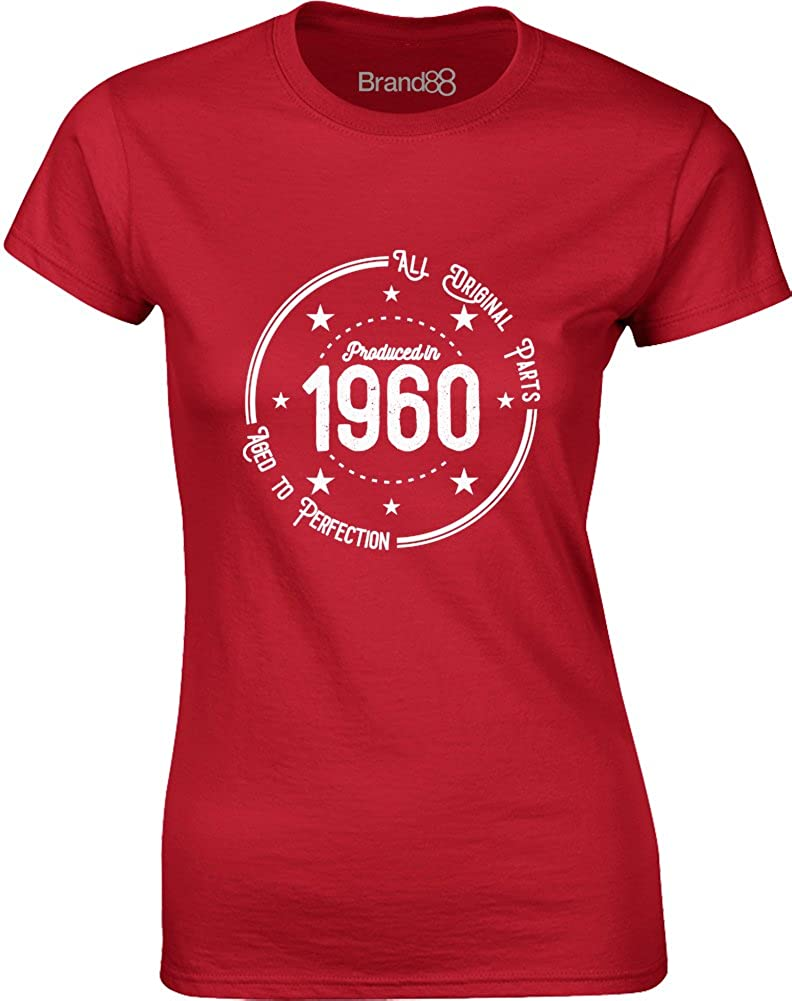 Brand88 - Born in 1960: Aged to Perfection, Ladies Printed T-Shirt GD072_BP011