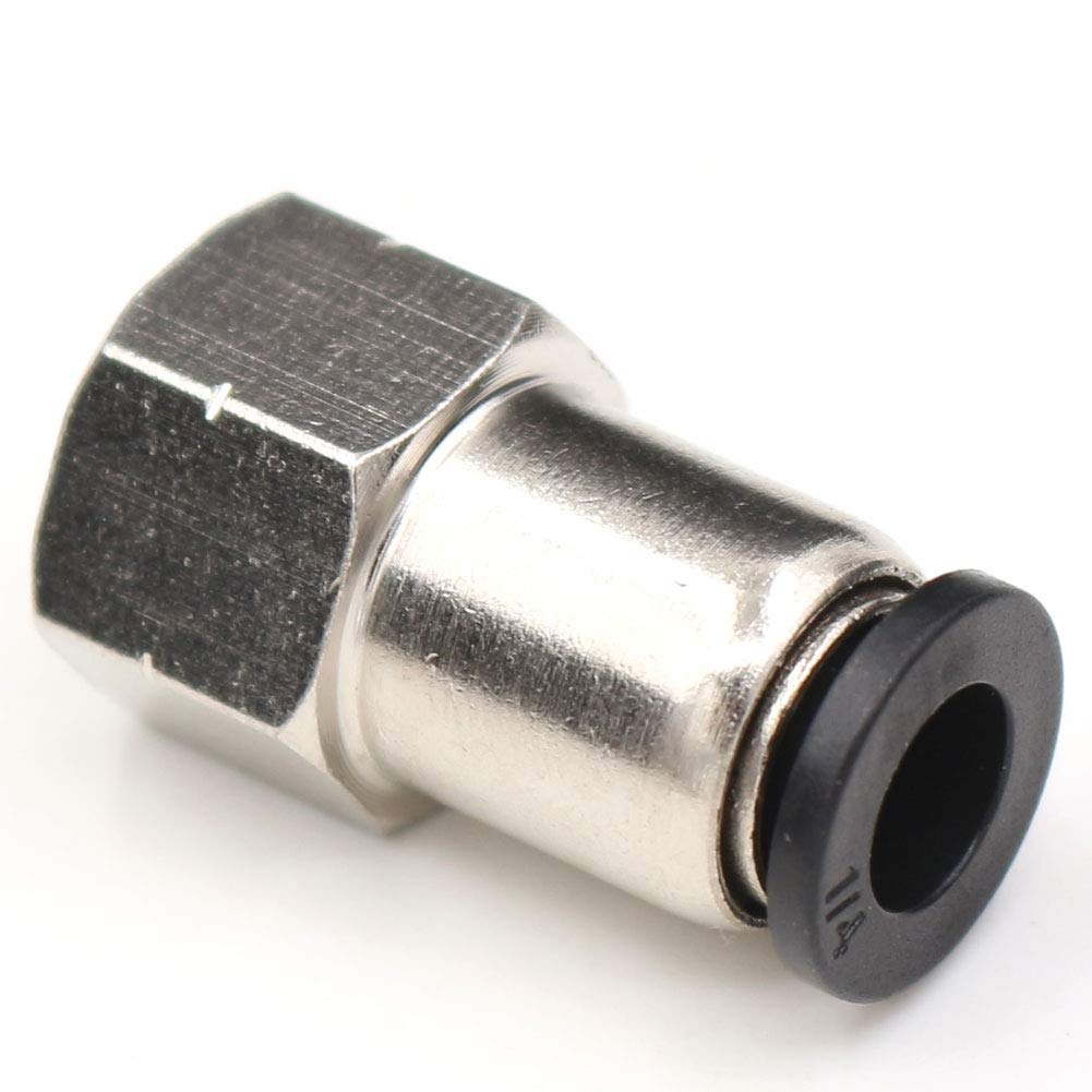 CEKER 1//4 PT Female Thread to 6mm Tube OD Straight Union Push in Joint Pneumatic Connector Push to Connect Quick Fittings for Industry Automatic 5Packs