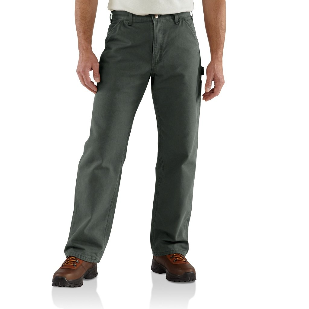 Carhartt Men's Washed Duck Work Dungaree Utility Pant B11,Moss,42 x 32