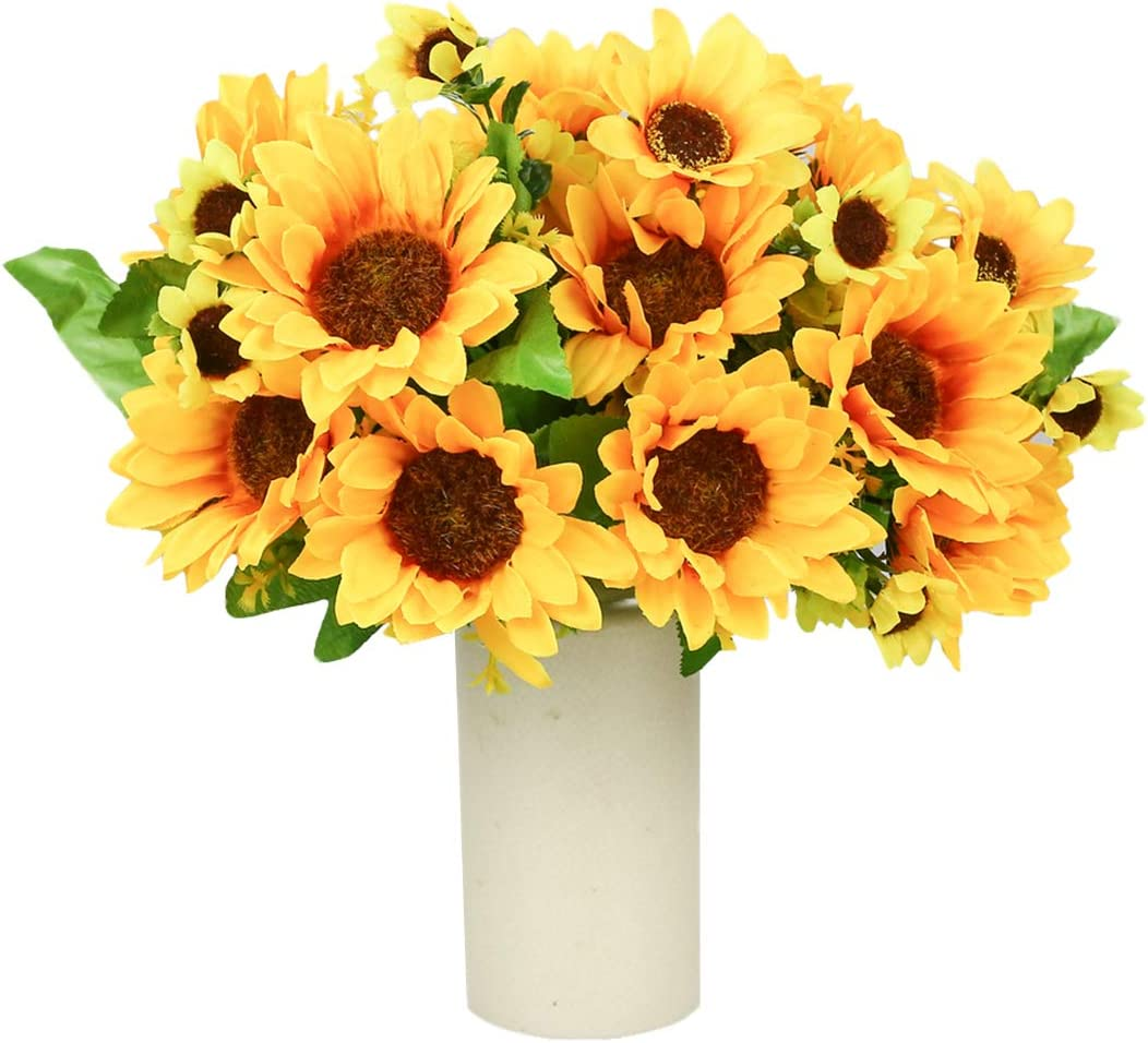 Artificial Flowers 4 Bouquet   Silk Sunflowers for Home Decoration Wedding Decor (4 Bunches/Pack)