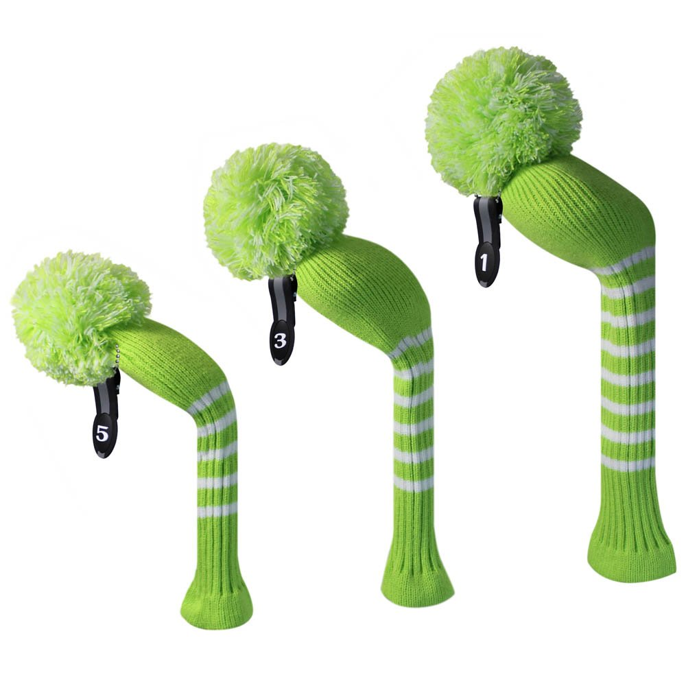 Amazon lime green color with white strips long neck amazon lime green color with white strips long neck knitted golf pom pom headcover set of 3 for driver460cc fairway wood hybrid bankloansurffo Gallery
