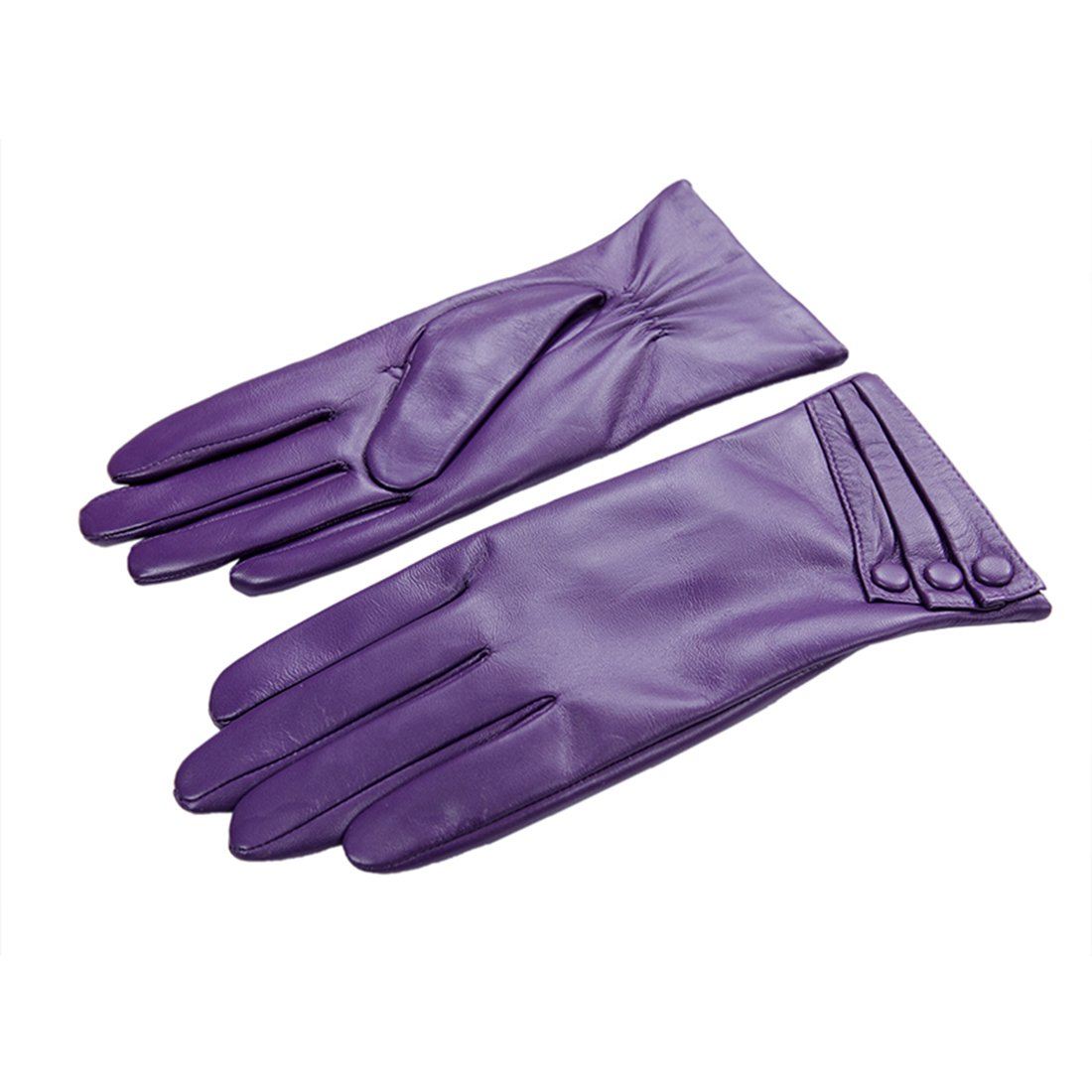 Nappaglo Nappa Leather Gloves Warm Lining Winter Button Decoration Imported Leather Lambskin Gloves for Women (XXL, Purple)