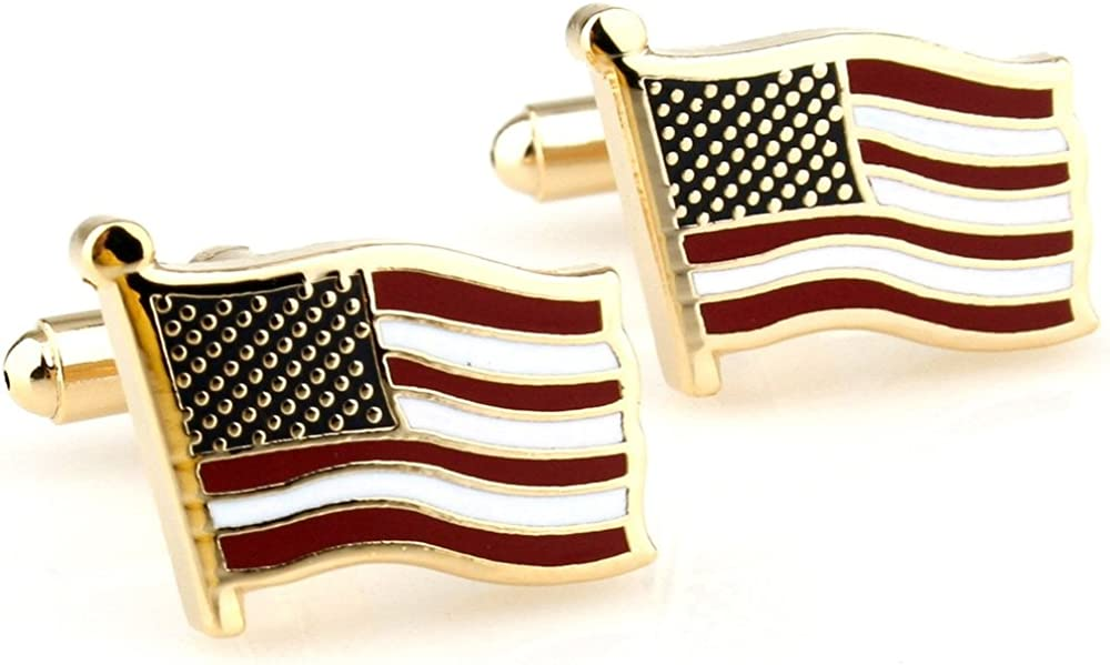 Covink® Flying American National Flag Men's Office Cufflinks Cuff Buttons One Pair Gold