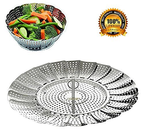 BangShou Food Steamer Basket Folding Vegetable Steamer 100% Stainless Steel Insert for Pressure Cooker & Instant Pot Size 5.3'' to 9.3'' by BangShou (Image #1)