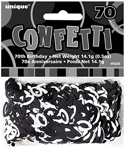 Unique Party 55229 - Glitz Black Foil 70th Birthday Confetti