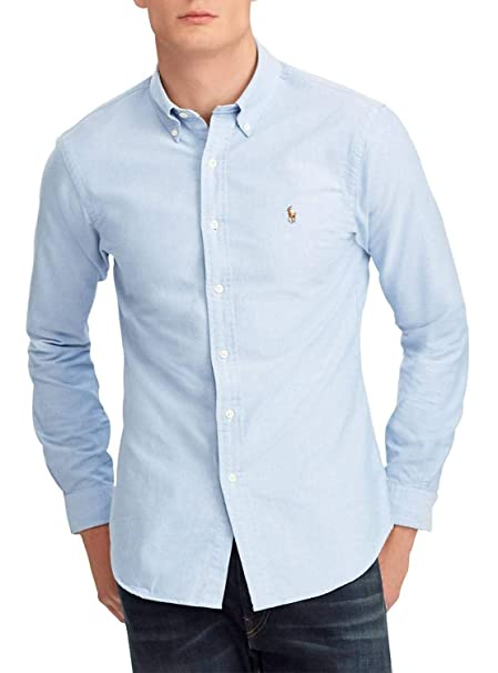Lauren M Polo Camicia Ralph Oxford Uomo it Blue BlueAmazon N80Ovnmw