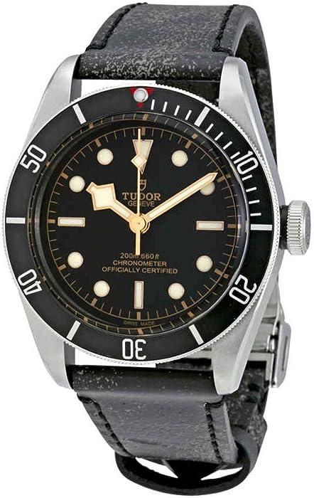 Tudor Patrimonio Negro Bahía Cuero automático Mens Reloj 79230 N-bkls