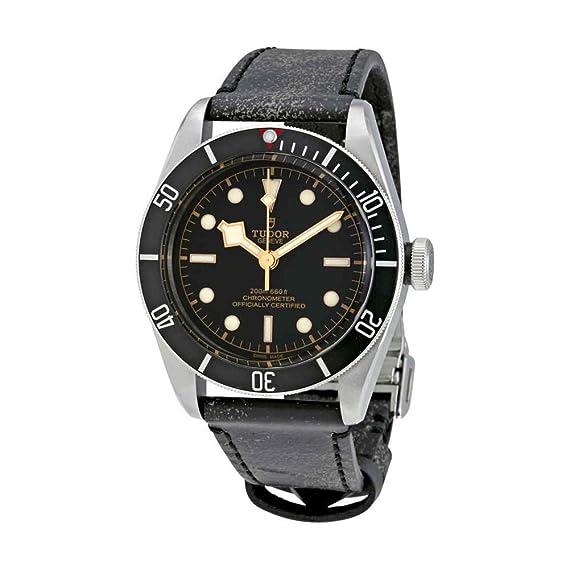 Tudor Patrimonio Negro Bahía cuero automático Mens Reloj 79230 N-bkls: Amazon.es: Relojes