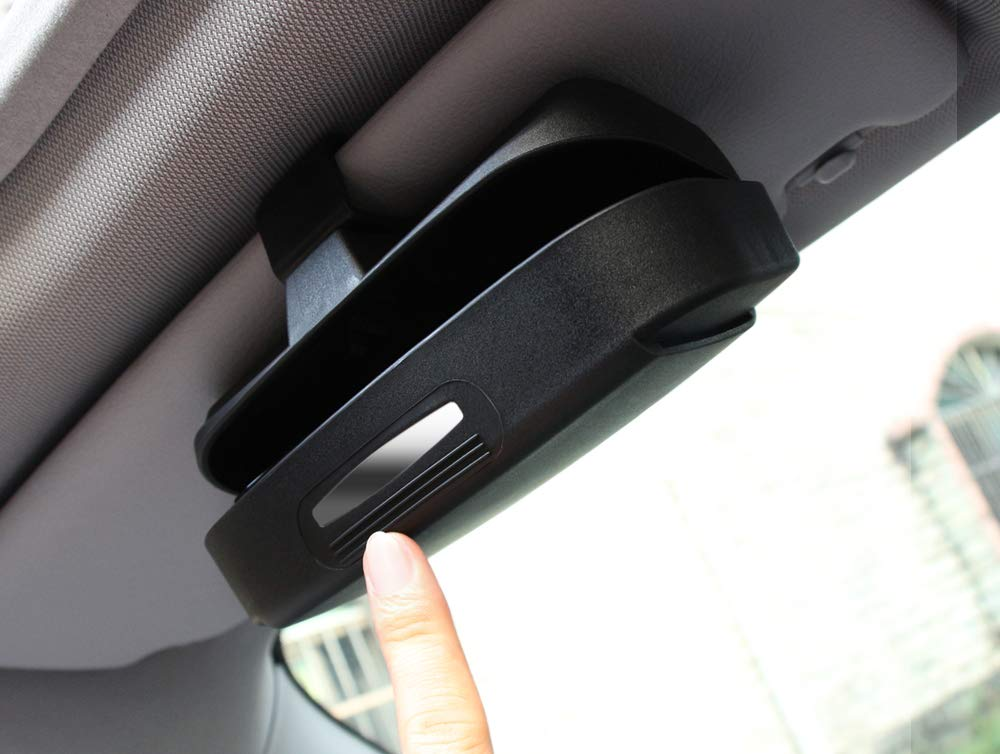 Car Sun Visor Glasses Storage Case Box Ticket Clip Holder Fit Toyota Tacoma Tundra RAV4 Camry 4Runner Sienna Prius C-HR Black
