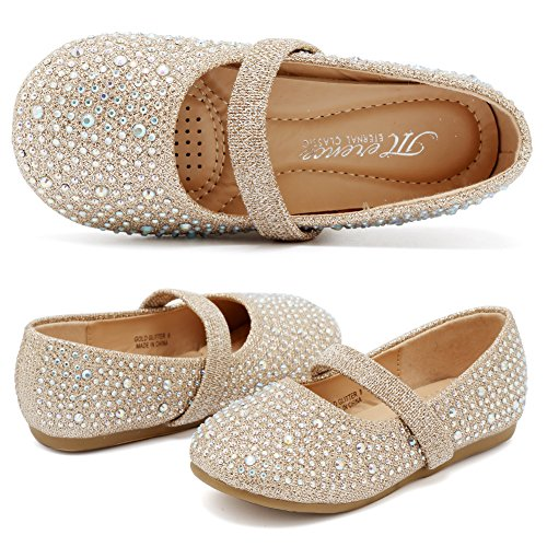 (CIOR Girls Ballet Flats Shoes Ballerina Bowknot Jane Mary Wedding for Party Toddlers Elastic Princess Dress from Merence,VGZA2,Shine-Gold Glitter,25)