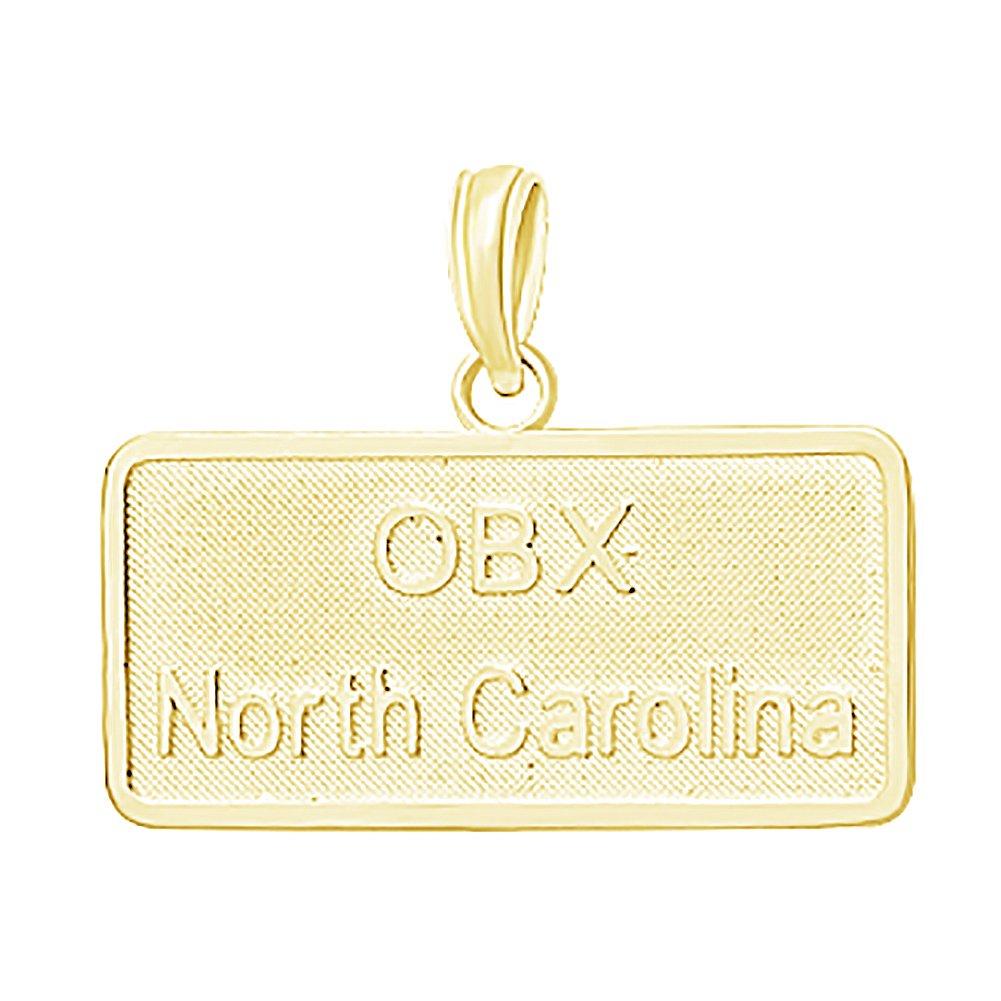 14k Yellow Gold Travel Charm Pendant, Small OBX North Carolina License Plate