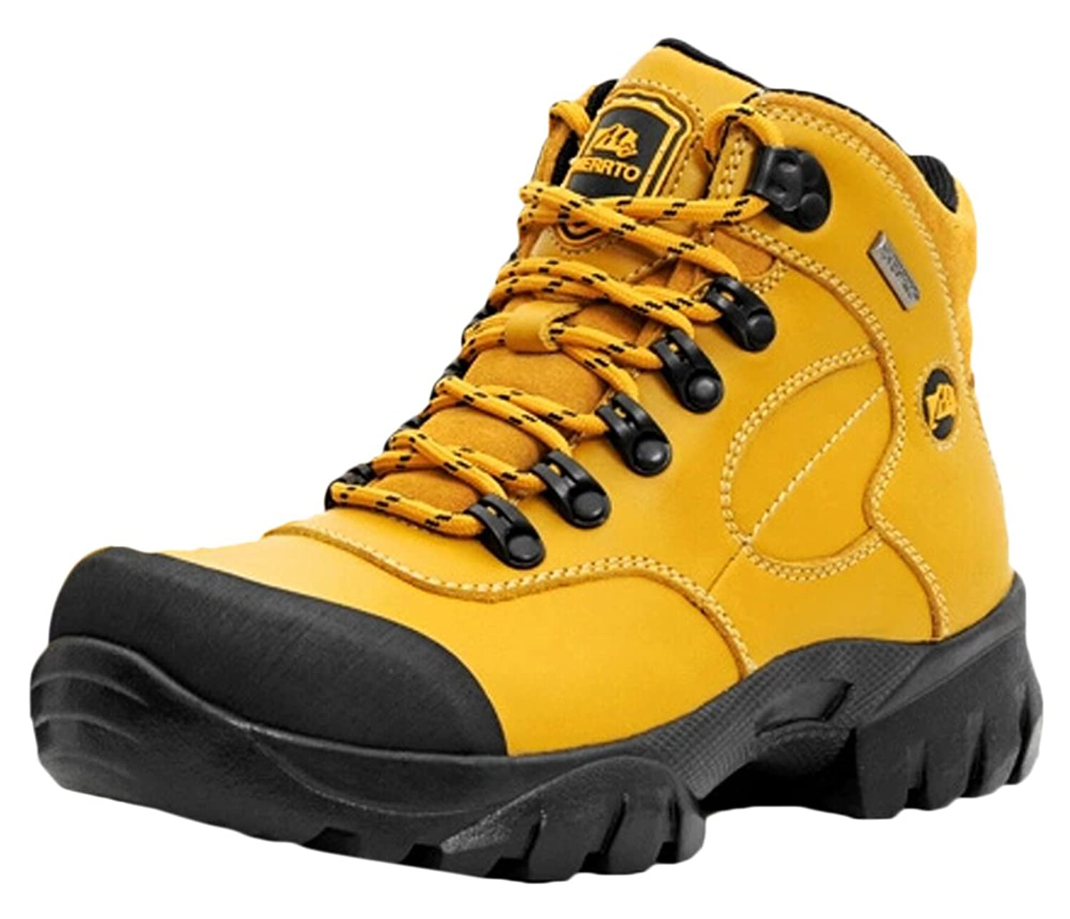 Ace Women's High-top Waterproof Anti-skid Outdoor Mountain Boots Hiking Shoes (7, yellow)