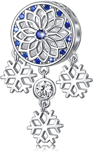 925 Sterling Snowflake Blue CZ fit European Charm Bead bracelet chain