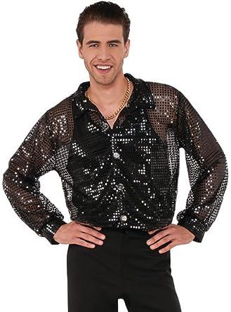 42670084c6b419 Amazon.com: Men's 70s Dancing King Black Sequin Disco Shirt: Clothing
