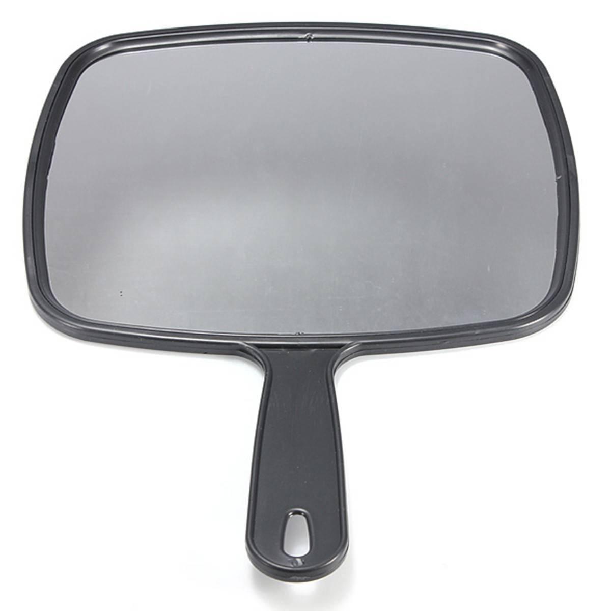 SODIAL Espejo de paleta de mano para Salon Barberos Peluqueria Espejo de paletas Herramienta con mango Negro para Maquillaje Peluqueria 049631