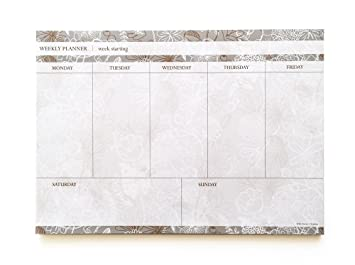Weekly Planner Pad Desk Planner Grey Floral A4 Amazon Co Uk Office