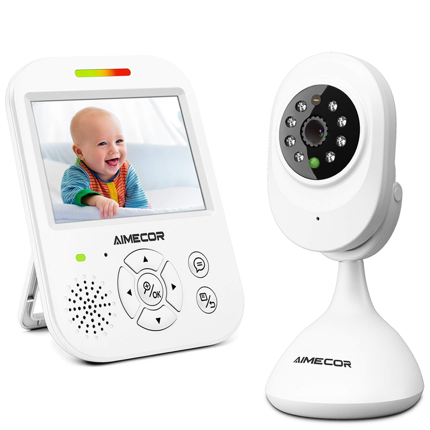 Video Baby Monitor with Camera - 3.5 inch IPS Display, HD Night Vision Camera, 960ft Transmission Range, Temperature Monitoring,Include Compatible Mount Shelf