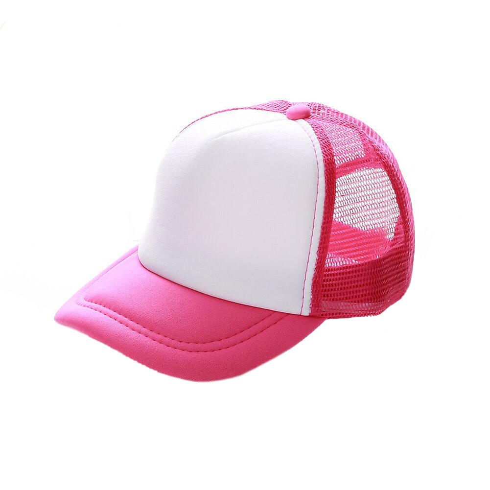 Opromo Kids Two Tone Mesh Curved Bill Trucker Cap, Adjustable Snapback, 14 Colors-Hot Pink/White-1 Pieces