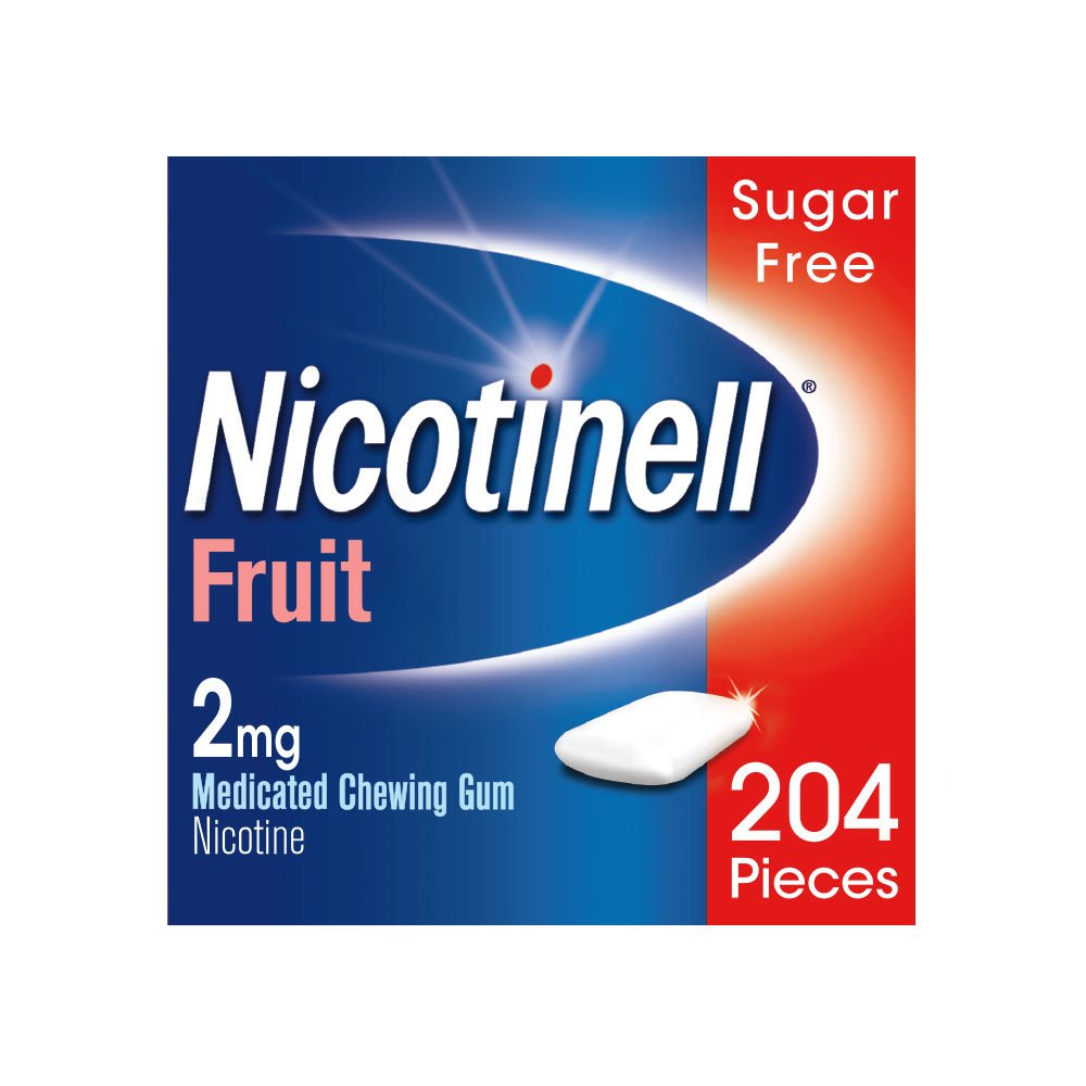 Nicotinell 2 MG Nicotine Smoking Cessation Chewing Gum - 204 Pieces - Fruit Flavor