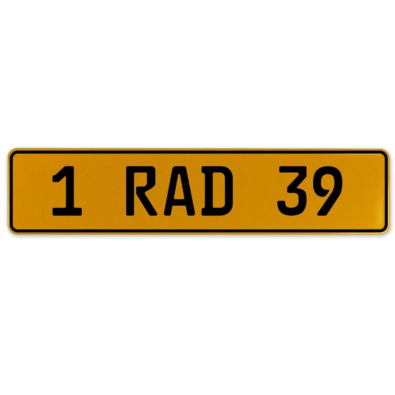 Vintage Parts 559091 Yellow Stamped Aluminum European Plate 1 RAD 39