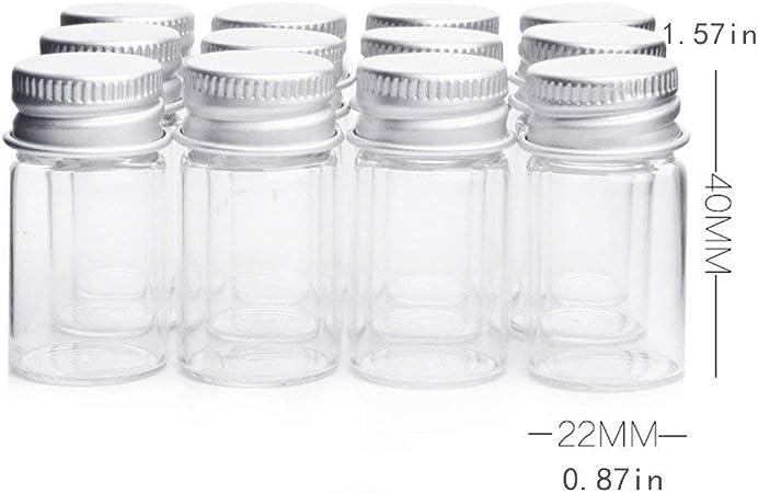 5 ml /échantillon fioles Mini bouteilles en verre transparent avec couvercle /à vis en aluminium solide mignon vide /échantillon bocaux pour message Bouteille /échantillons