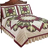 Collections Etc Geometric Bright Star and Diamond Pattern Heirloom Quality Lightweight Quilt, Full/Queen
