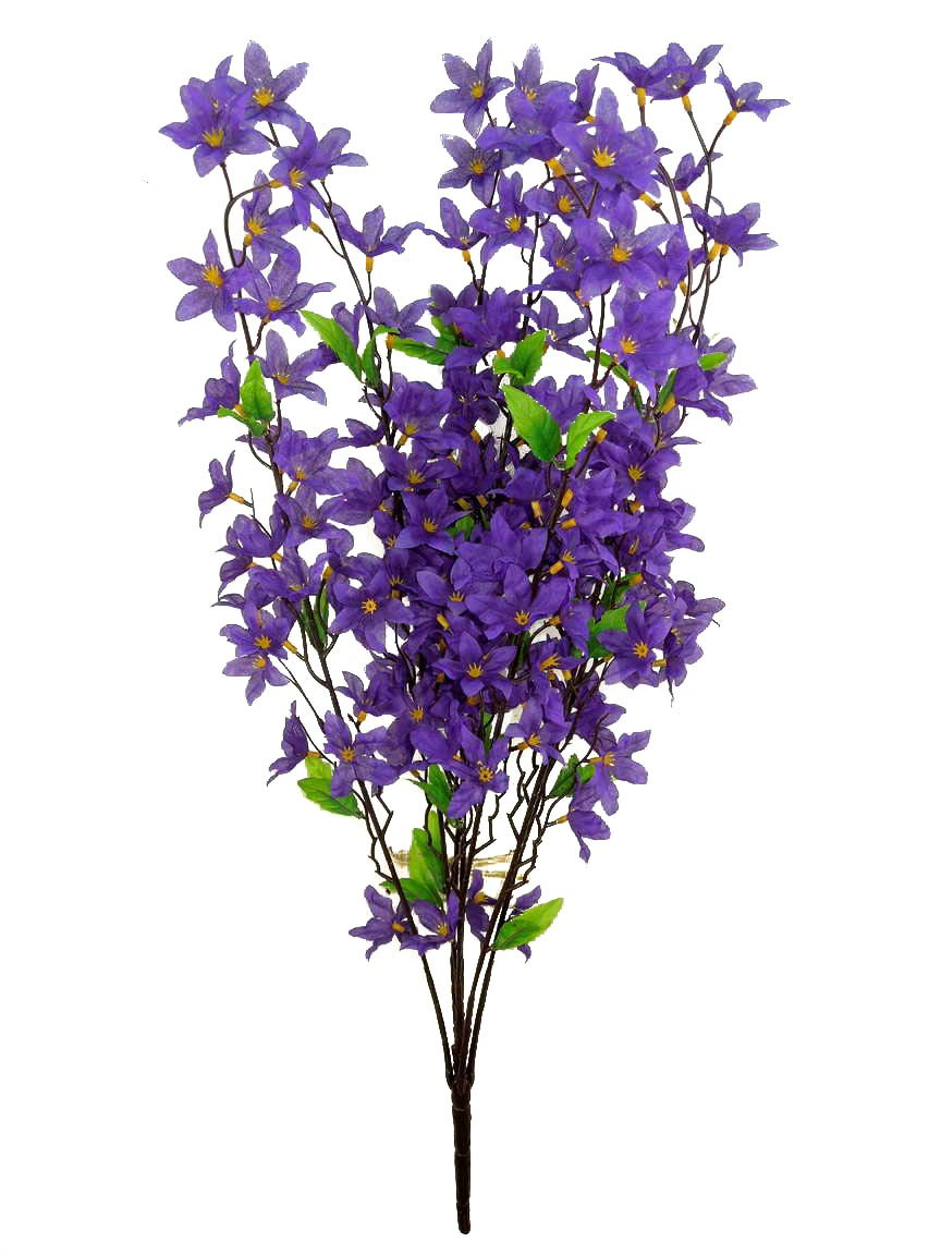 Admired By Nature 7 Stems Artificial Star Flower Bush for Home Wedding Restaurant and Office Decoration Arrangement Lavender