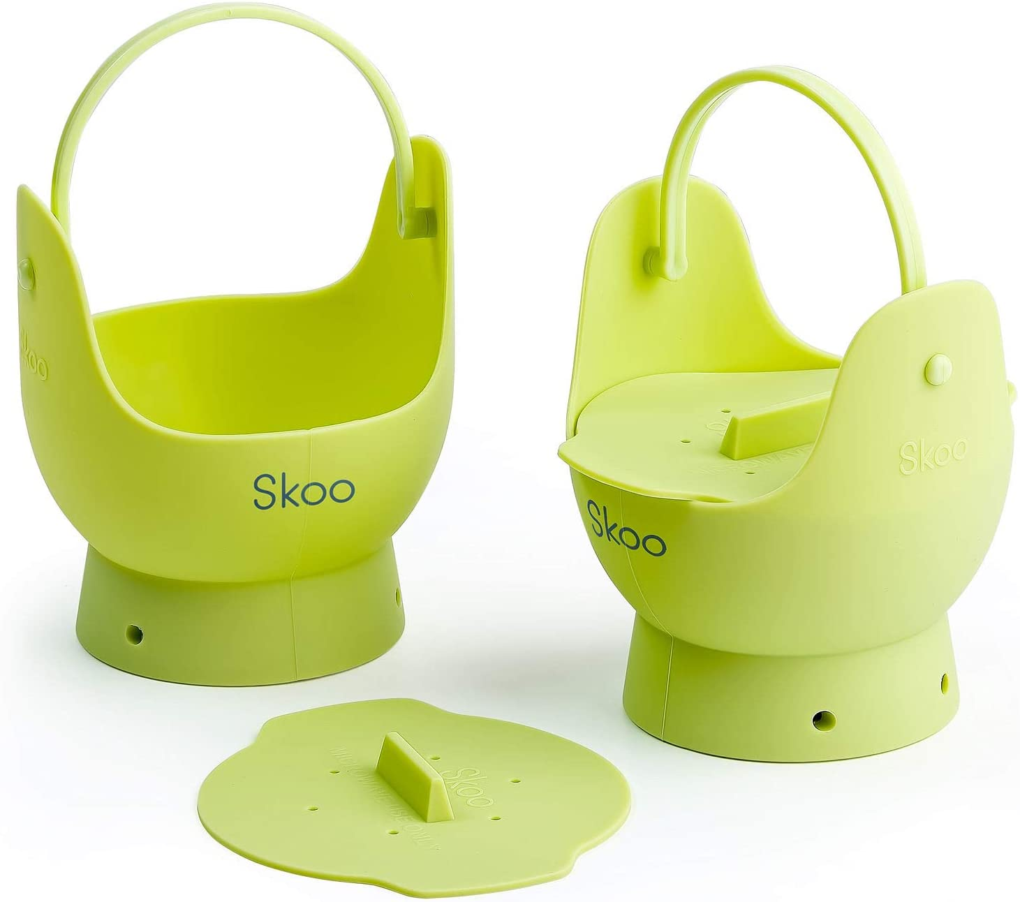 Egg Poacher - Skoo Silicone Egg Poaching Cups + Lids + Bonus eBook - Egg Cooker Set - Perfect Poached Egg Maker - For Stove Top, Microwave and Instant Pot - Pack of 2 - Green