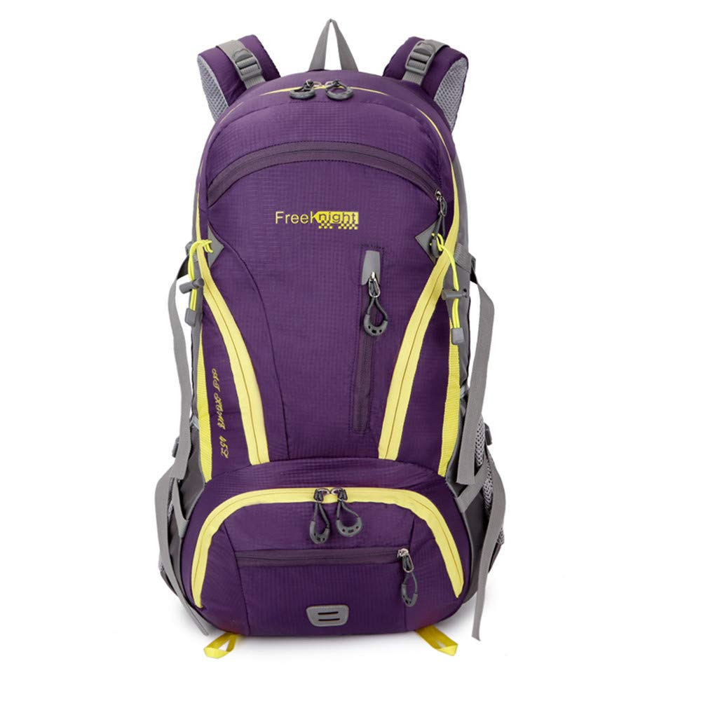 TechCode Camping Backpack, 45L Unisex High-Performance Travel Backpack Internal Frame Hiking Backpack Waterproof Outdoor Rucksack Lightweight Pack for Running Riding Camping Cycling Climbing (Purple)