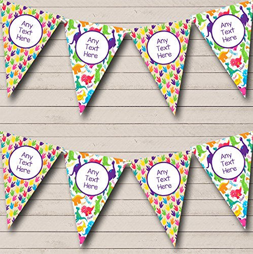 Dinosaur Colourful Purple Personalised Children/'s Birthday Party Bunting