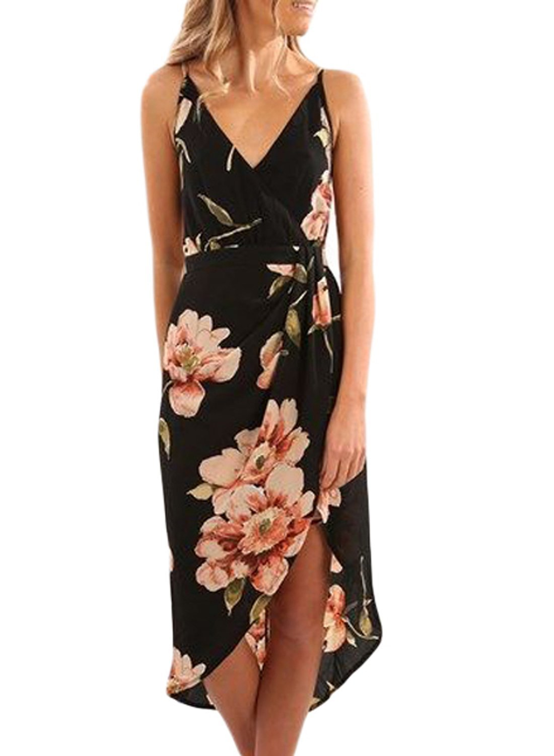 VAYAGER Women Sexy V Neck Floral Printed Short Sleeve Casual Midi Dress with Belt(Black-M)