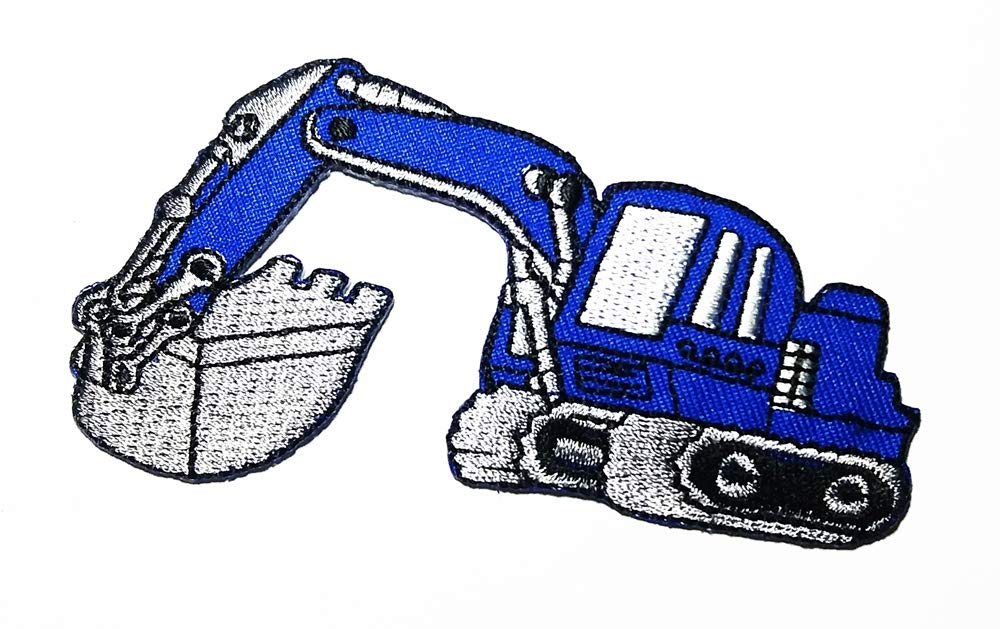 Tracked Excavator Backhoe Excavator Blue Cartoon Logo Patch Embroidered Sew Iron On Patches Badge Bags Hat Jeans Shoes T-Shirt Applique