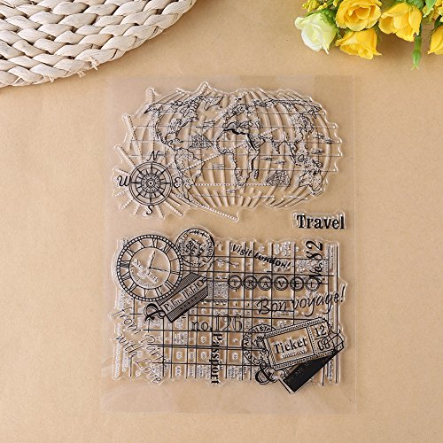 Travel Journal Kit (1 Pc Clear Stamp Seal Scrapbook Silicone Travel Journal for Album Decor Gift Card Kid Adult DIY Craft (Y42 World Map))