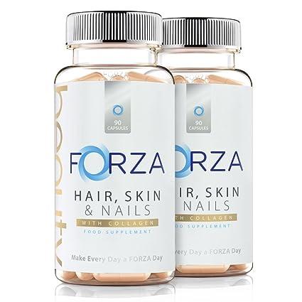 FORZA belleza de cabello, piel y uñas – Con colágeno añadido – 180 cápsulas