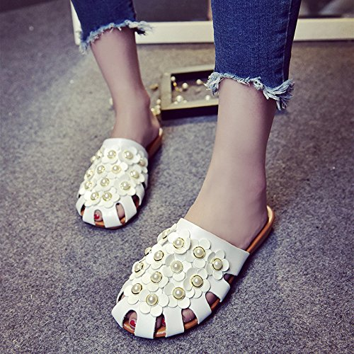 color Baotou Black Casual Head Out Fashionable WHLShoes women pure Flowers Breathable Round Pastoral slippers Slippers And Hollowed OqE6nxw4aT