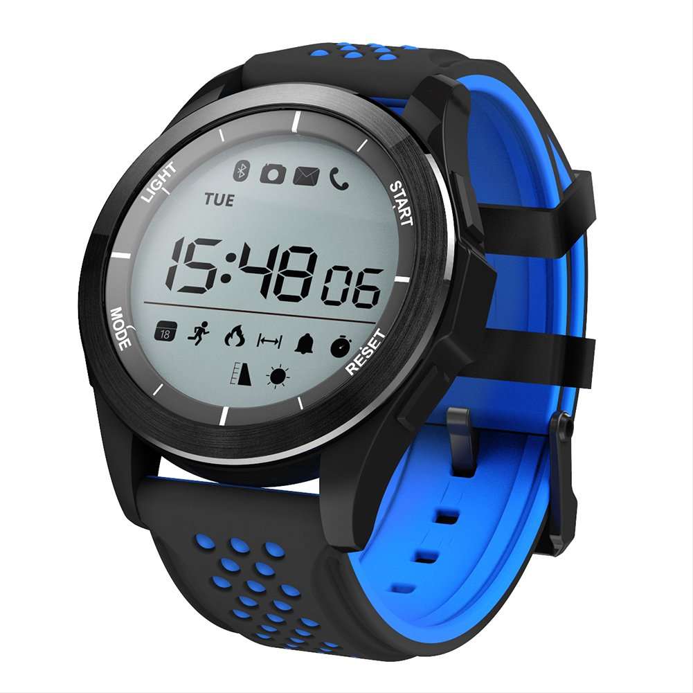 NO.1 F3 Sports Smartwatch Bluetooth 4.0 IP68 cámara remota a prueba de agua recordatorio sedentario Sleep / Call Monitor podómetro (Azul/Negro): Amazon.es: ...